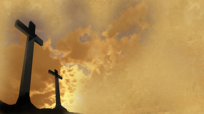 crosses  silhouette with theold paper  as background