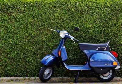 blue moped by green bush at roadside