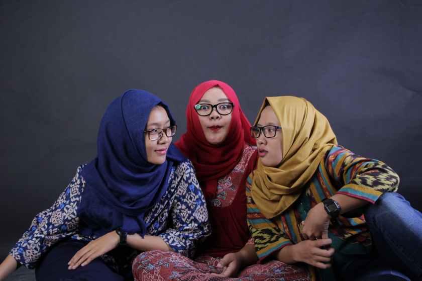 three women sitting
